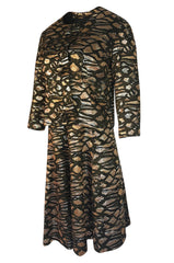 1960s Nina Ricci Metallic Gold Silver Silk Brocade Dress & Jacket Suit Set