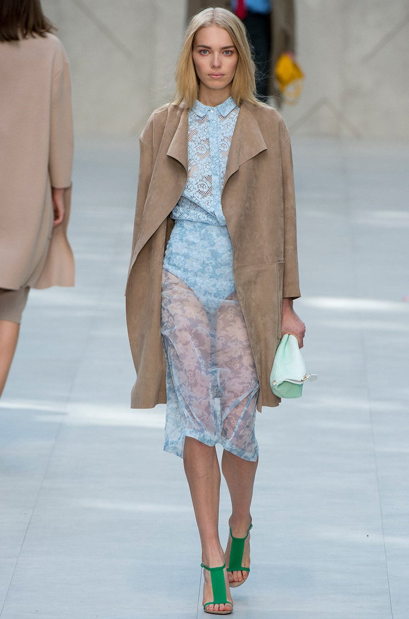 Spring 2014 Burberry Prorsum Runway Butter Soft Suede Wrap Coat