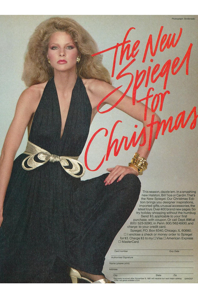 Documented 1980 Bill Tice Plunge Front Black & Gold Backless Halter Dress