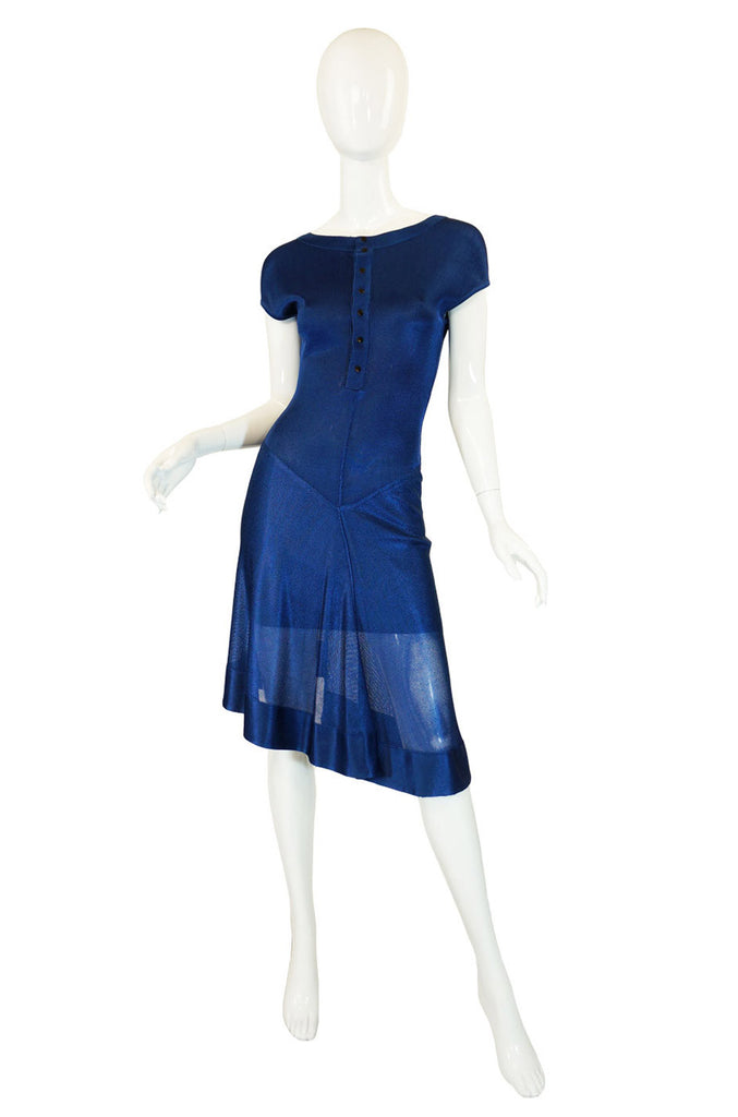 1990s Blue Asymetrical Hem Alaia Dress