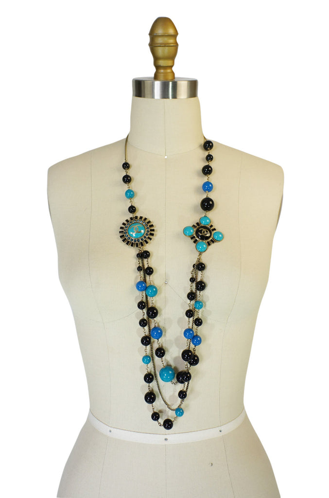 Chanel 07A Black & Blue Pearl Necklace