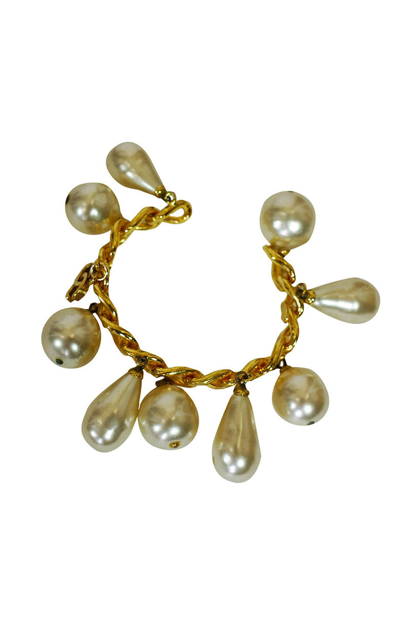 1986 Chanel Gold and Pearl Bracelet Cuff
