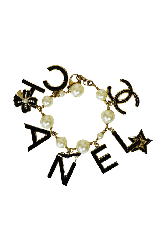 Chanel Pearl and Logo Charm Bracelet