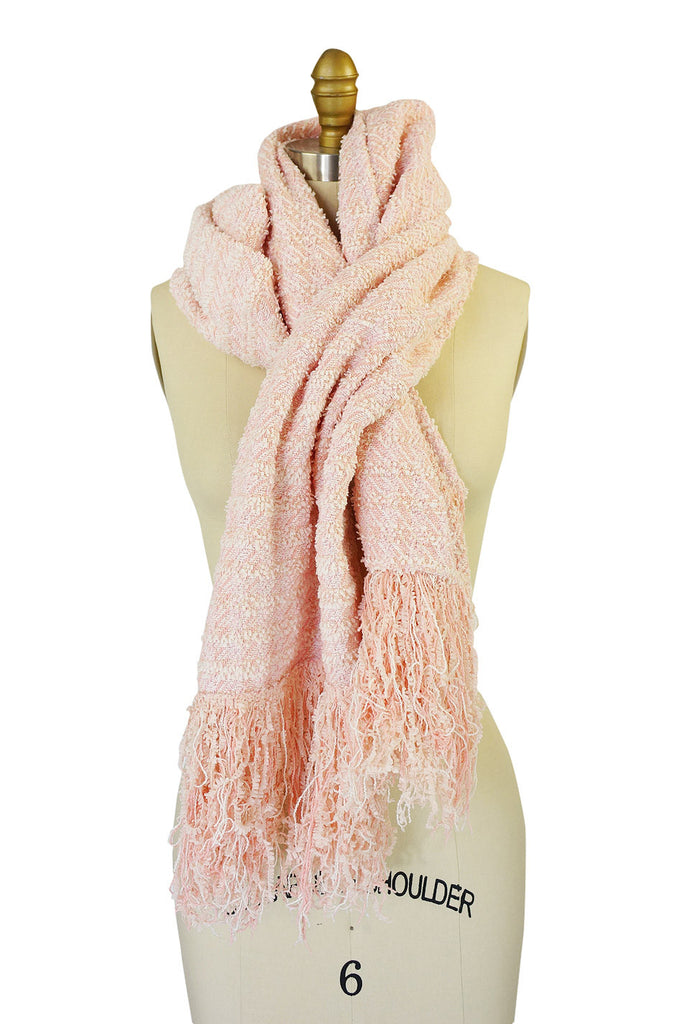 Recent Chanel Pink Boucle Fringe Scarf