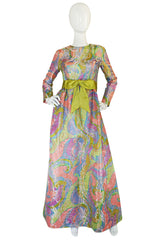 1960s Ferdinando Sarmi Metallic Pink & Gold Silk Brocade Dress