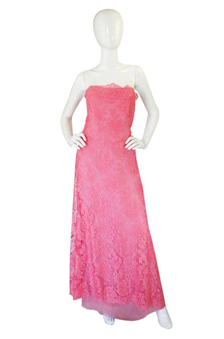 1960s Stavropoulos Couture Lace & Silk Pink Strapless Dress