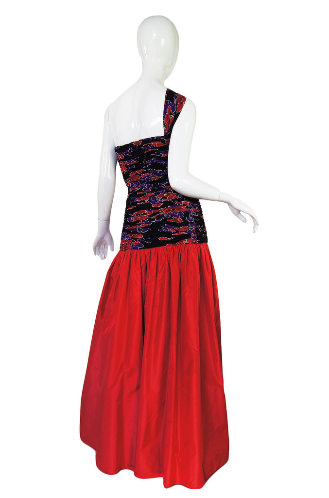 1980s One Shoulder Silk Valentino Gown