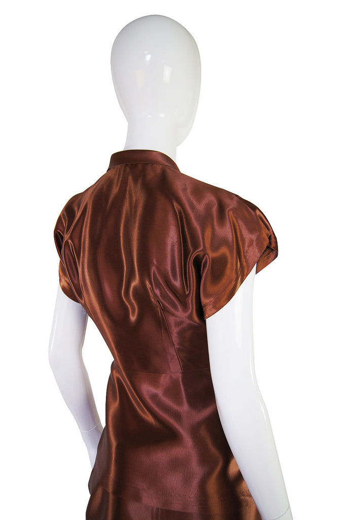 1940s Rare Liquid Silk Satin Copper Suit