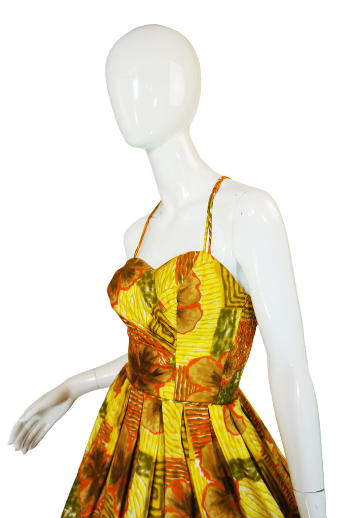 1950s Saks Printed Cotton Sarong Dress