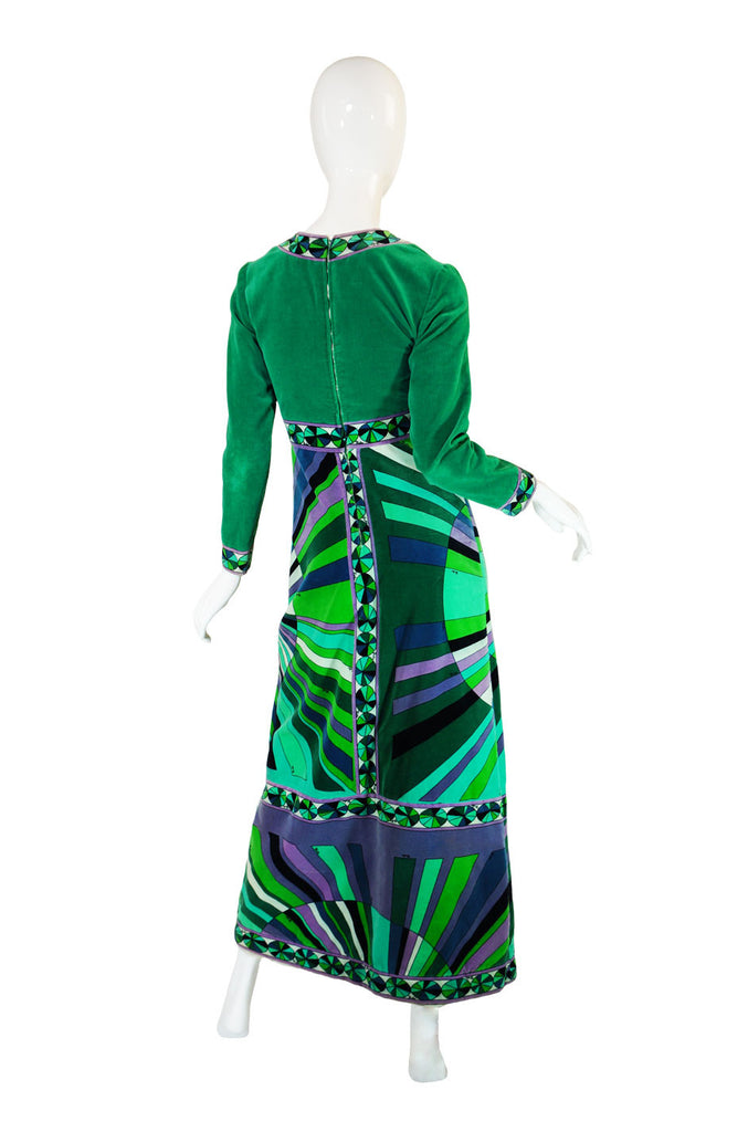 1970s Green Velvet Emilio Pucci Dress