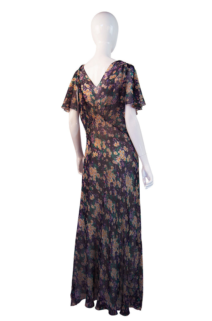 1930s Purple Floral Silk Chiffon Gown