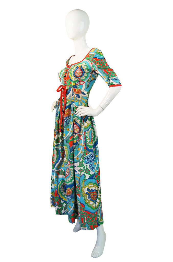 1960s Oscar De la Renta Colorful Maxi