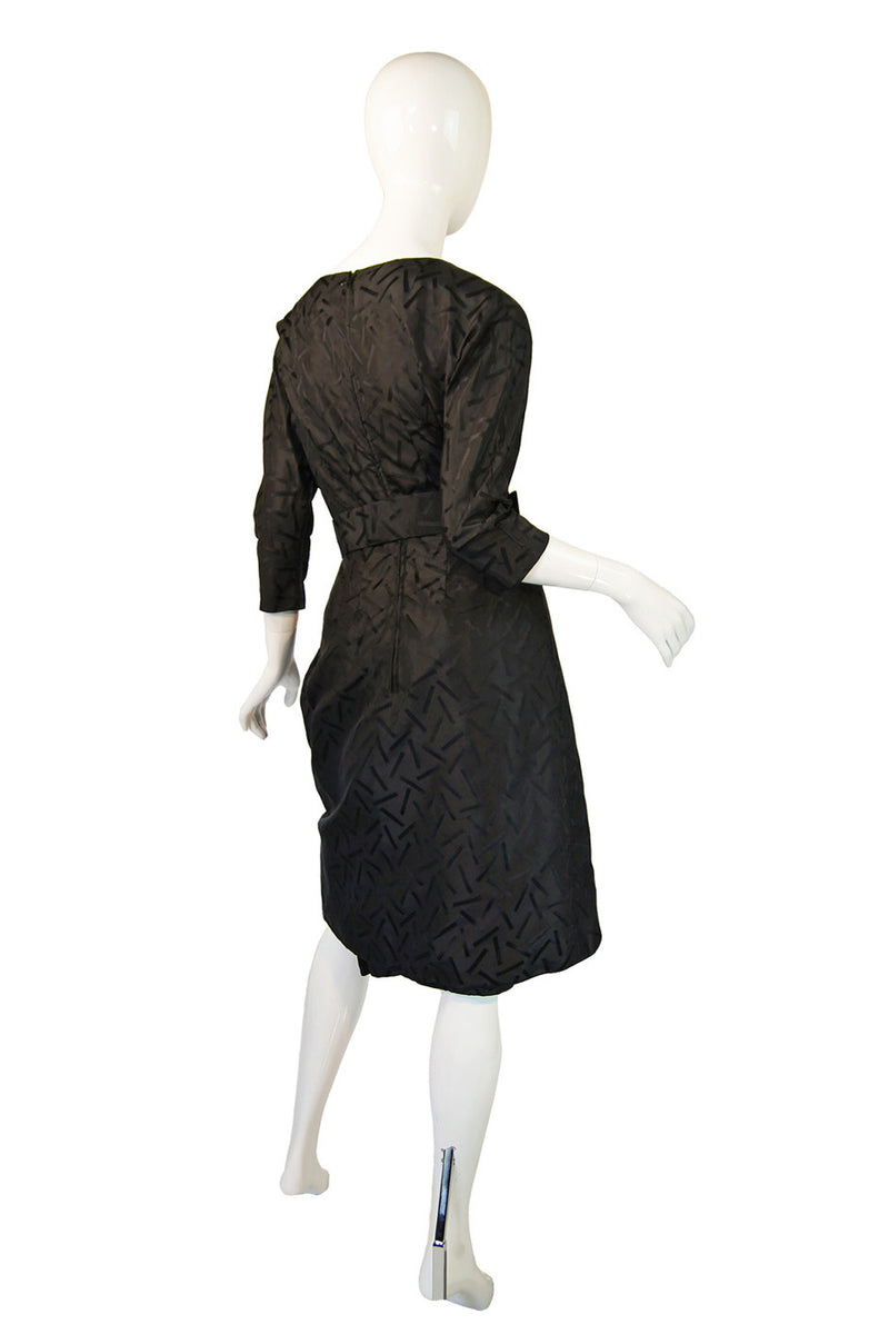 1950s Heavy Silk Swagged Mignon Dress