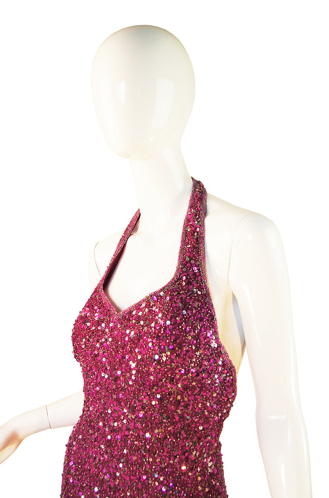 1970s Pink Sequin Custom Halston Gown