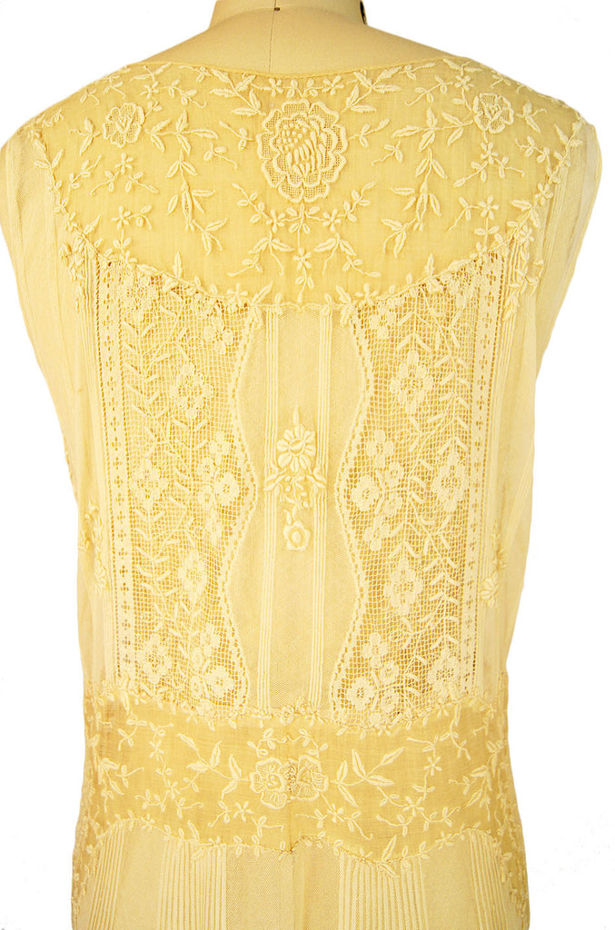 1920s Embroidered Flapper Net Dress