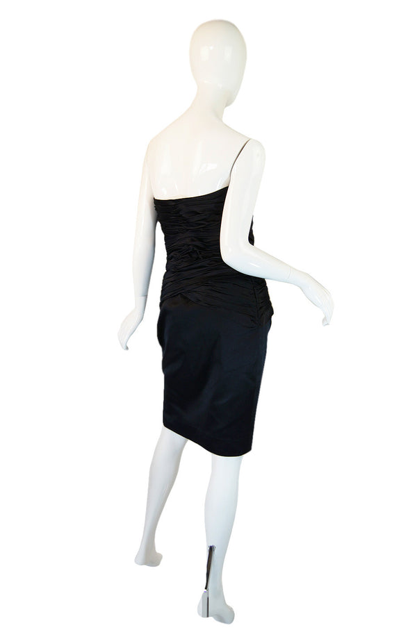 1980s Black Silk Satin Vicky Tiel Strapless Dress