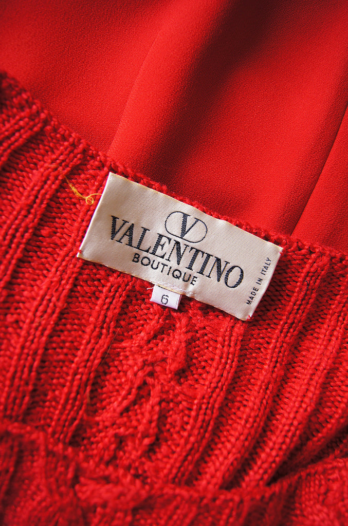 1980s Red Cable Knit Top Valentino