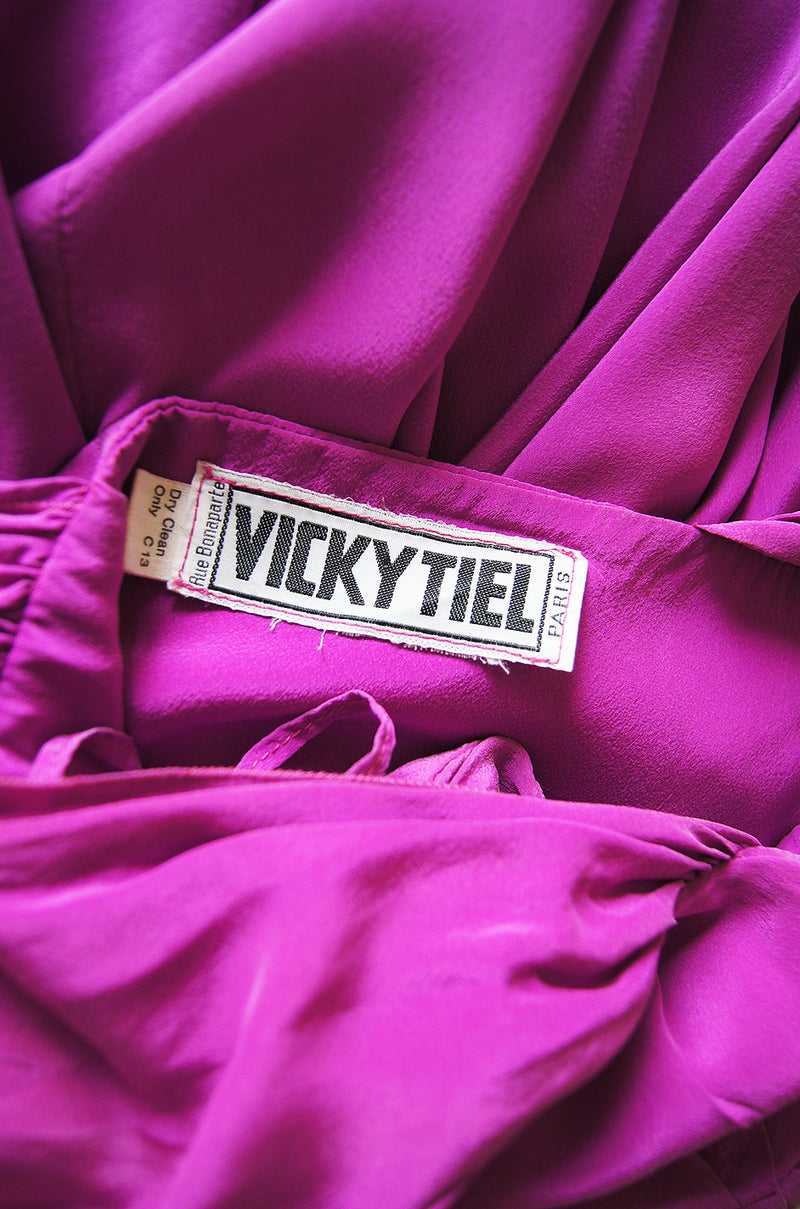 1980s Sueded Bright Pink Silk Vicky Tiel Dress