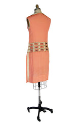 1920s Remarkable Silk Peach Shift Dress