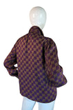 1970s YSL Silk Check Secratary Blouse