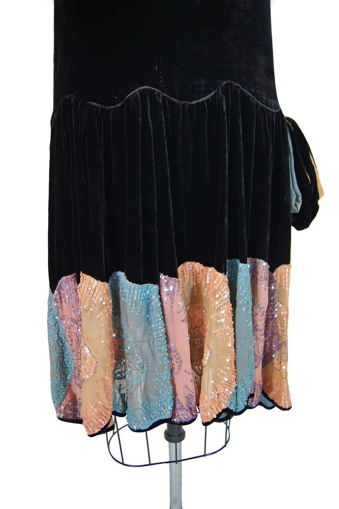 1920s Silk Velvet Sequin Hem Dress