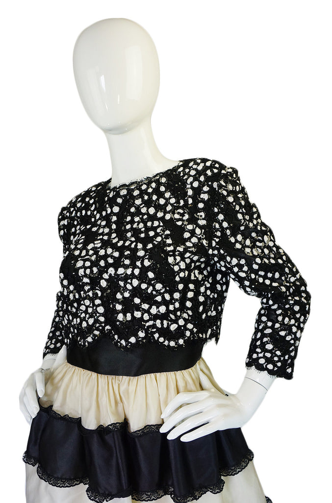 1980s Sequin & Ruffles Bill Blass Dress