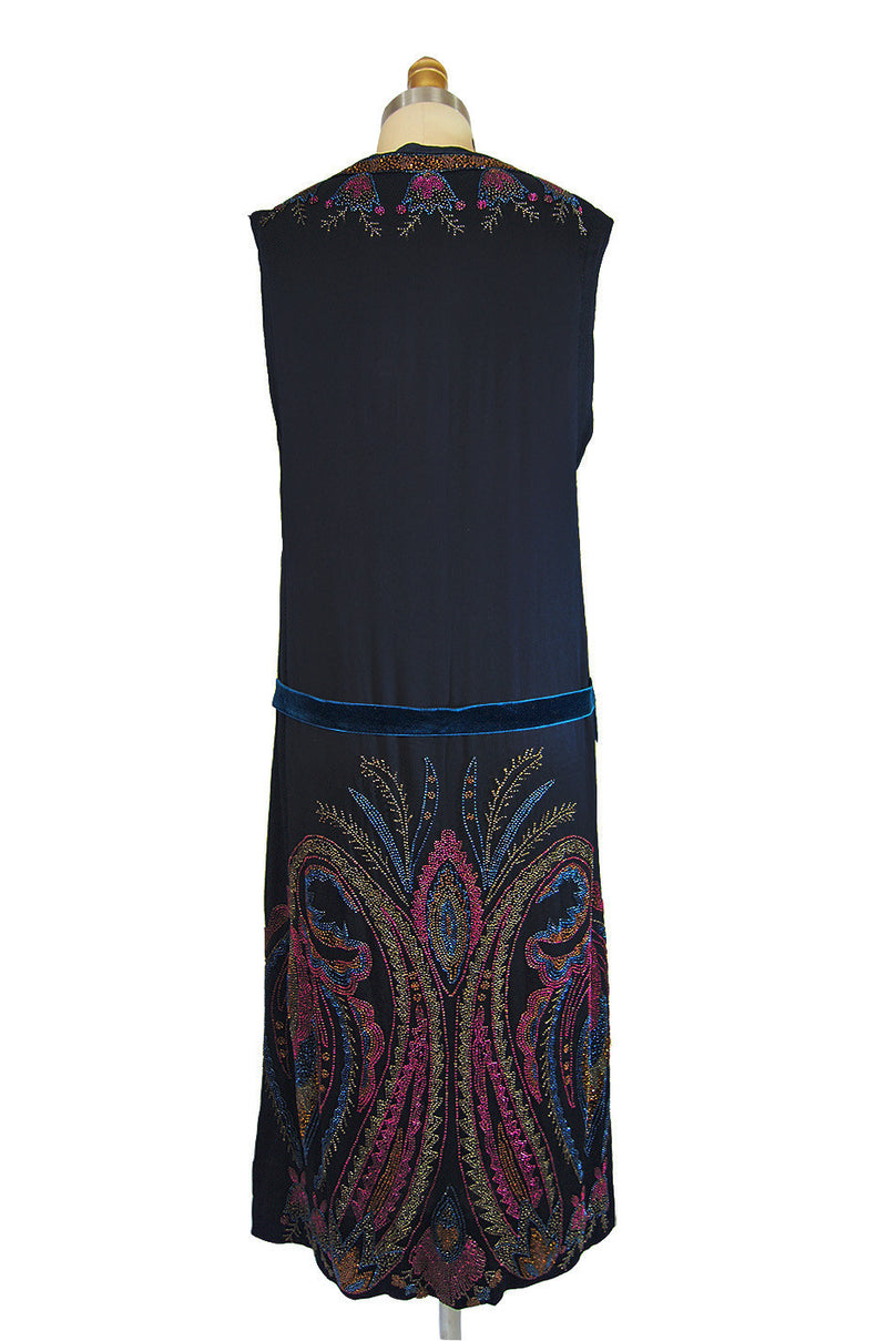 1920s Colorful Beaded Silk Flapper Dress