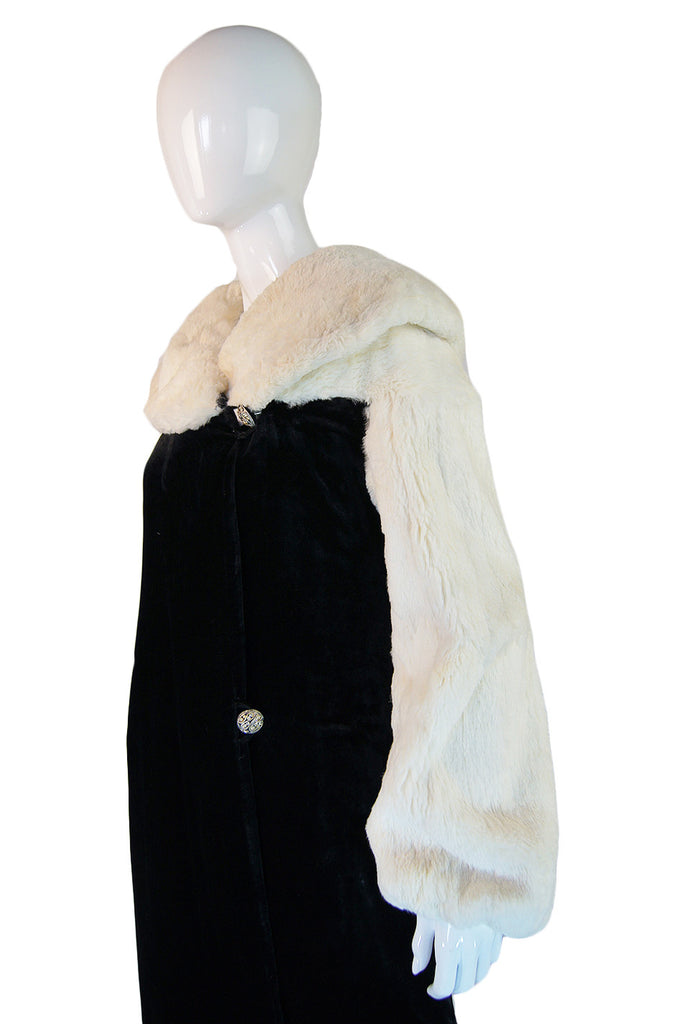 1930s Ermine & Silk Velvet Evening Coat