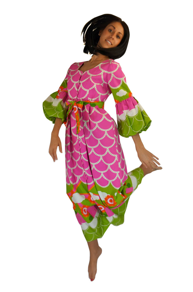 1960s Pink & Green Printed Maxi Dress