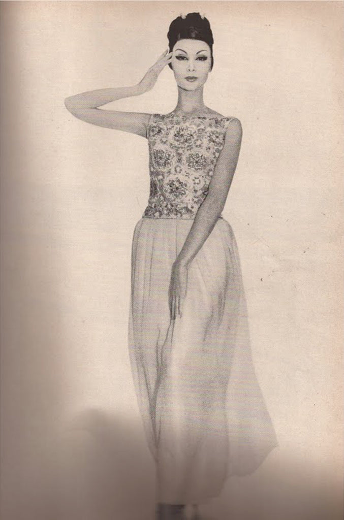 Spring 1961 Balmain Haute Couture Lesage Ivory Beaded Dress w Detachable Cape