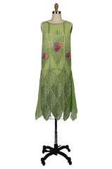 1920s Beaded Floral Green Flapper Dress