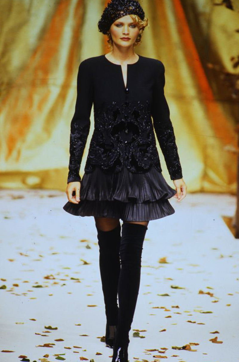 Documented Fall 1994 Valentino Haute Couture Hand Beaded & Pleated Top, Skirt & Jacket Suit Set