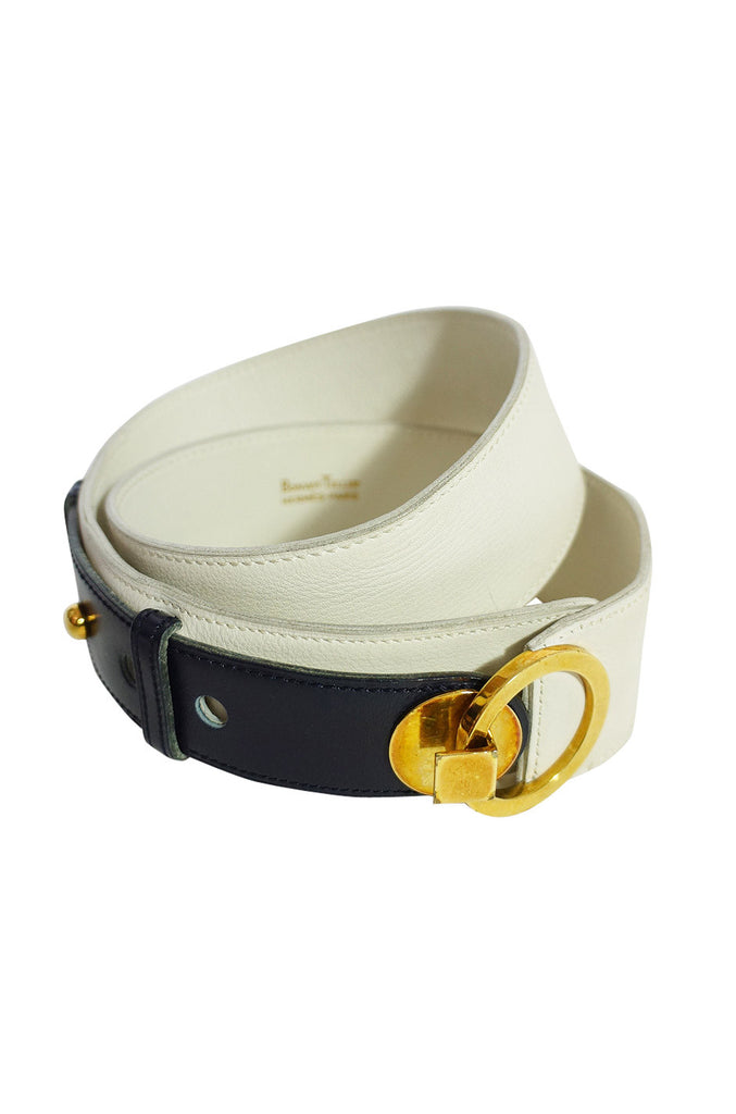 Rare 1960s Hermes Belt White & Navy