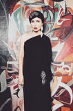1970s Nettie Vogues One Shoulder Jersey Dress with Matching Turban