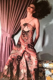Documented 1976 John Kloss Feather Printed Cut Out Dress