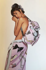 Iconic Spring 1994 Chanel Large Printed Towel in Baby Pink & Soft Blue