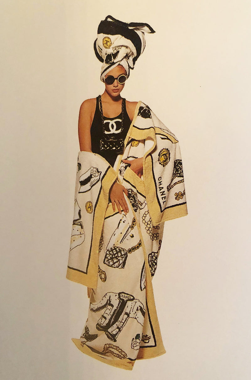 Iconic Spring 1994 Chanel Large Printed Towel in Cream & White