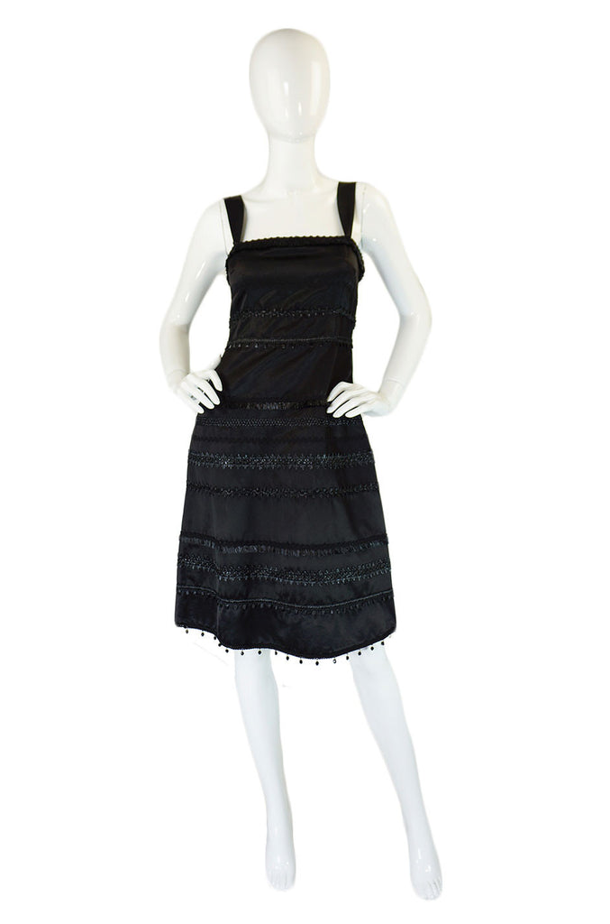 1990s Moschino Silk Bead & Raffia Dress