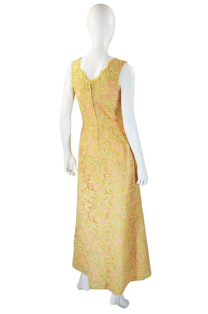 1960s Peach and Yellow Lace Gown