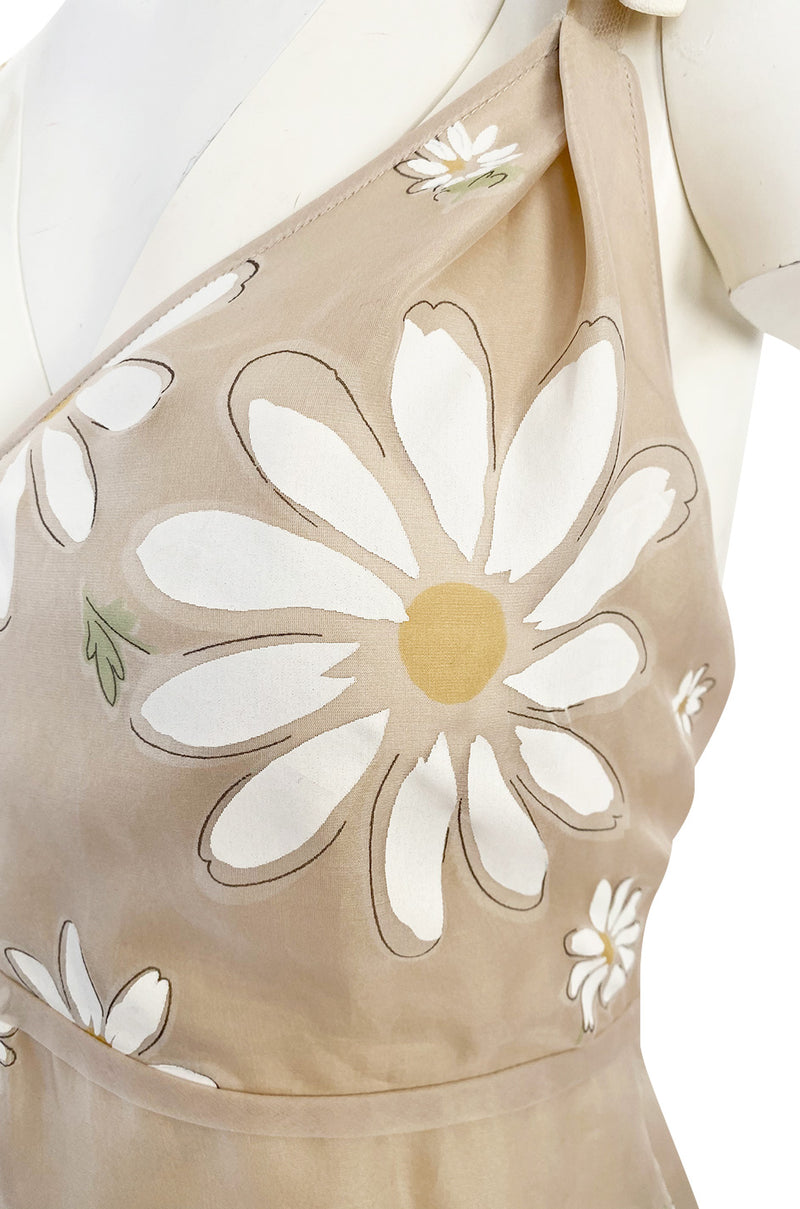 Resort 2011 Valentino Runway Painted Low Back Daisy Dress w Ruffles & Flower Detailed Straps