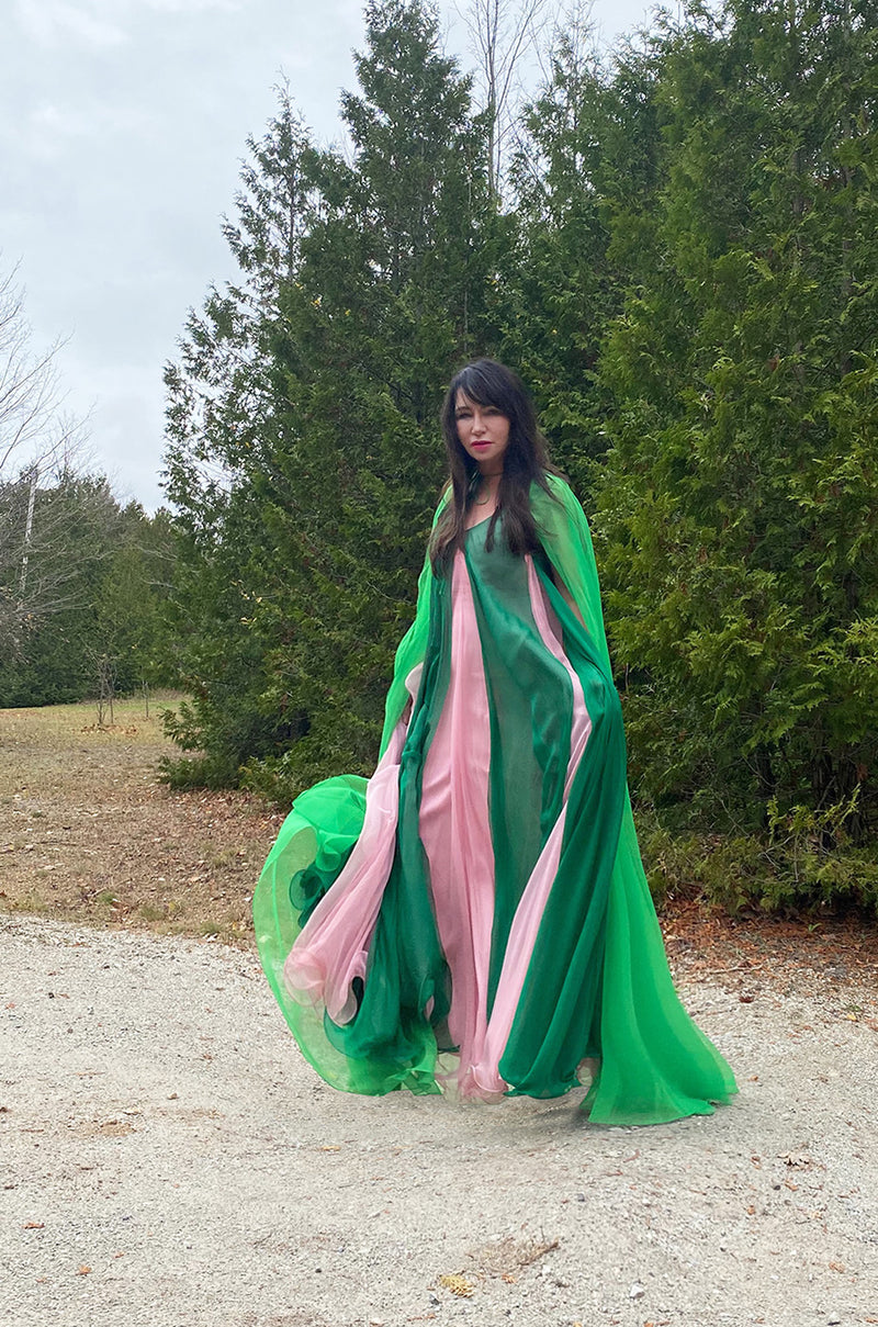 1960s Unlabeled Multiple Layered Pink & Green Chiffon Swing Maxi Dress