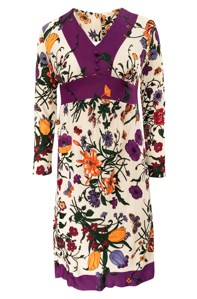 1960s Unlabeled 'Gucci' Floral & Fauna Print Rayon Jersey Dress