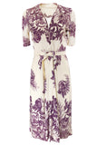 1940s Unlabeled Purple Floral Print Stretch Rayon Jersey Ivory Dress