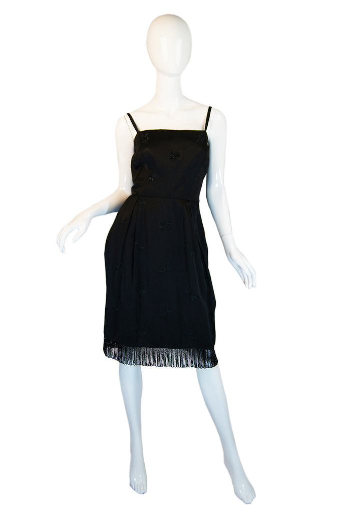 1950s Bead Fringe Hem Silk Wiggle Dress