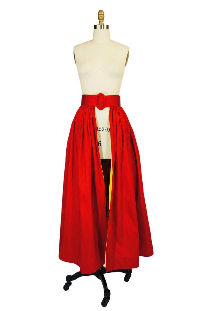 1980s Scaasi Red & Yellow Silk Over Skirt