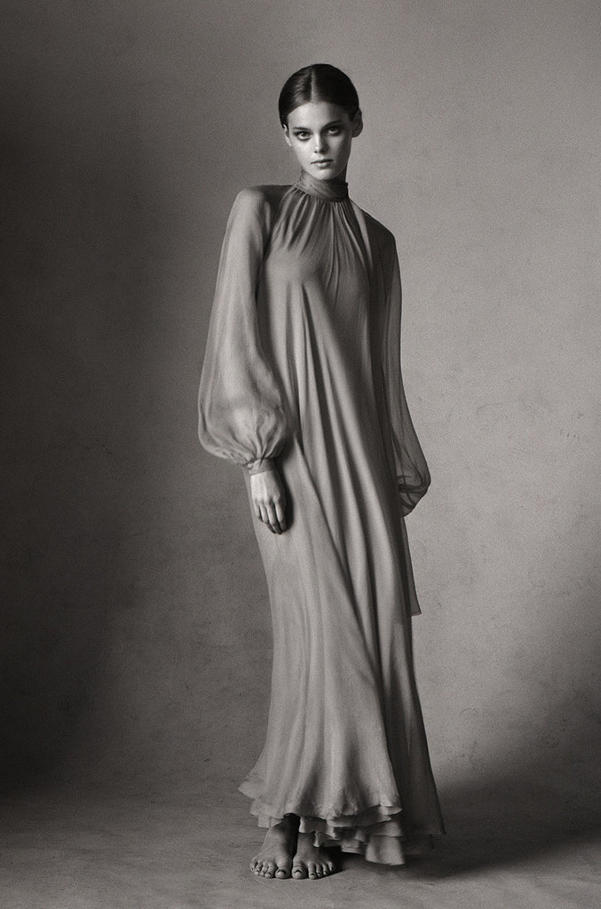 Documented 1973 Haute Couture Yves Saint Laurent Silk Gown