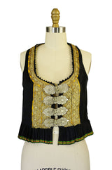 Antique Silver Buckle Gold Thread Vest