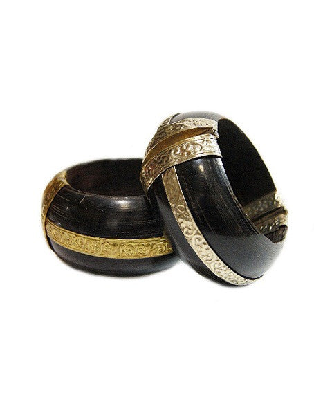 1960s Thick Wood& Brass Cuffs