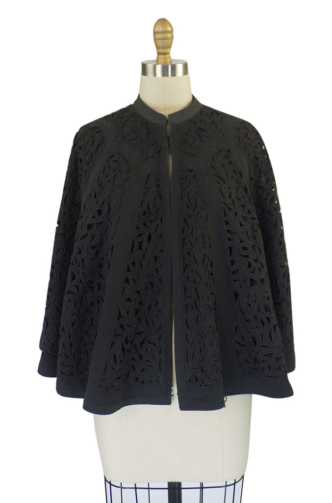Victorian Black Cut Work Fine Wool Cape