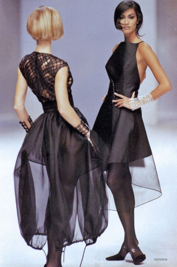 S/S 1992 Claude Montana Net Inset Bodysuit & Skirt Dress